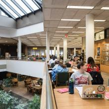 Students working in the atrium of Denison University's Doane Library