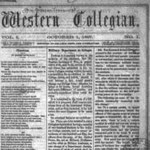 Front page of an old issue of the Western Collegian